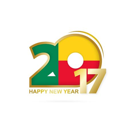 newyear: Year 2017 with Benin Flag pattern. Happy New Year Design on white background. Vector Illustration.