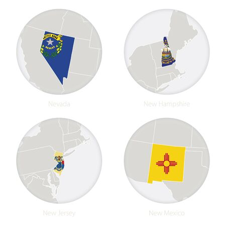 Nevada, New Hampshire, New Jersey, New Mexico US states map contour and national flag in a circle. Vector Illustration. Illustration