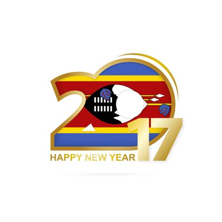 Year 2017 with Swaziland Flag pattern. Happy New Year Design on white background. Vector Illustration.