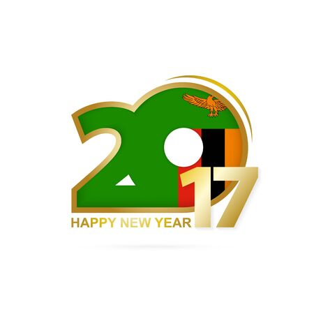 Year 2017 with Zambia Flag pattern. Happy New Year Design on white background. Vector Illustration. Illustration