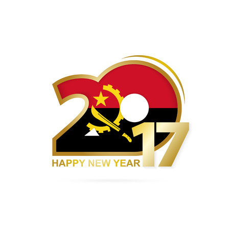 Year 2017 with Angola Flag pattern. Happy New Year Design on white background. Vector Illustration.