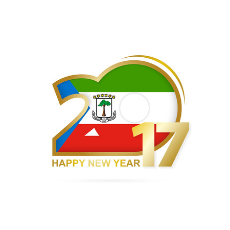 Year 2017 with Equatorial Guinea Flag pattern. Happy New Year Design on white background. Vector Illustration.