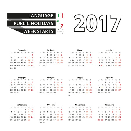 Calendar 2017 on Italian language. With Public Holidays for Italy in year 2017. Week starts from Monday. Simple Calendar. Vector Illustration.