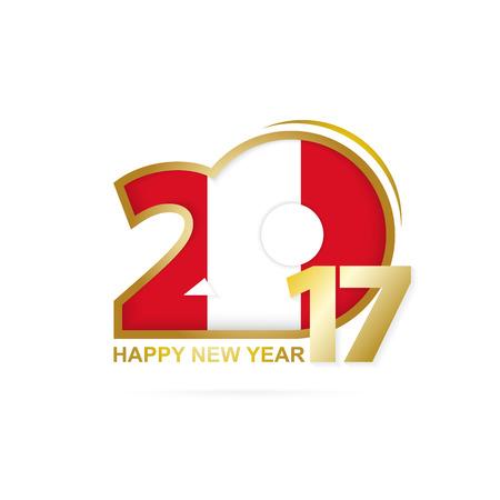 bandera de peru: Año 2017 con el patrón de la bandera de Perú. Diseño Feliz Año Nuevo en el fondo blanco. Ilustración del vector.