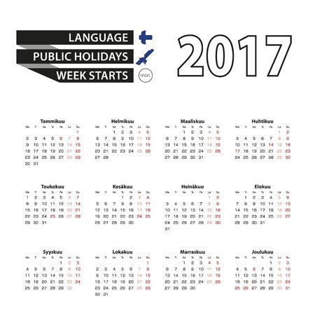 finnish: Calendar 2017 on Finnish language. With Public Holidays for Finland in year 2017. Week starts from Monday. Simple Calendar. Vector Illustration.