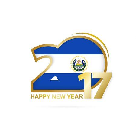 bandera de el salvador: Año 2017 con el patrón de la bandera de El Salvador. Diseño Feliz Año Nuevo en el fondo blanco. Ilustración del vector.