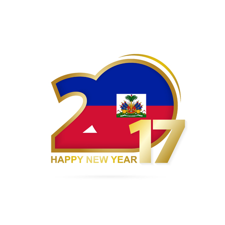 Year 2017 with Haiti Flag pattern. Happy New Year Design on white background. Vector Illustration.