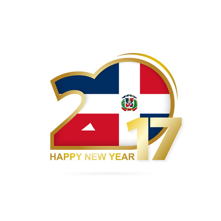 Year 2017 with Dominican Republic Flag pattern. Happy New Year Design on white background. Vector Illustration. Stock Illustratie