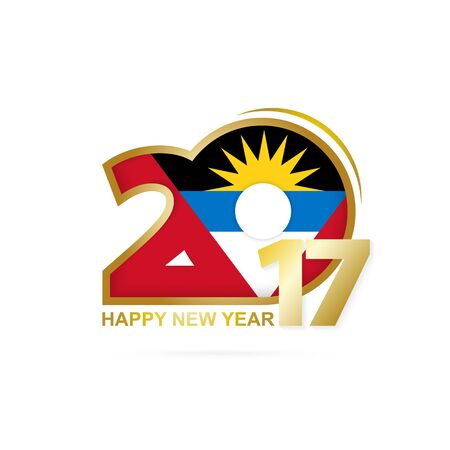 antigua: Year 2017 with Antigua and Barbuda Flag pattern. Happy New Year Design on white background. Vector Illustration.