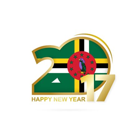 Year 2017 with Dominica Flag pattern. Happy New Year Design on white background. Vector Illustration.