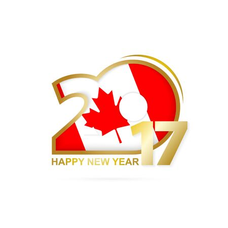 gold numbers: Year 2017 with Canada Flag pattern. Happy New Year Design on white background. Vector Illustration.