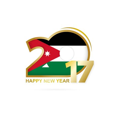 Year 2017 with Jordan Flag pattern. Happy New Year Design on white background. Vector Illustration.