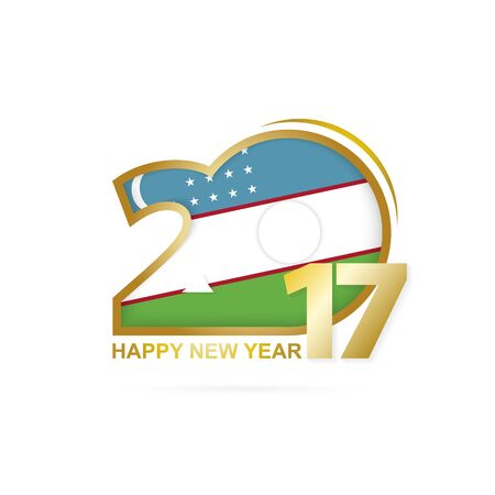 title emotions: Year 2017 with Uzbekistan Flag pattern. Happy New Year Design on white background. Vector Illustration.