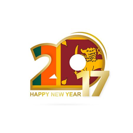 Year 2017 with Sri Lanka Flag pattern. Happy New Year Design on white background. Vector Illustration.