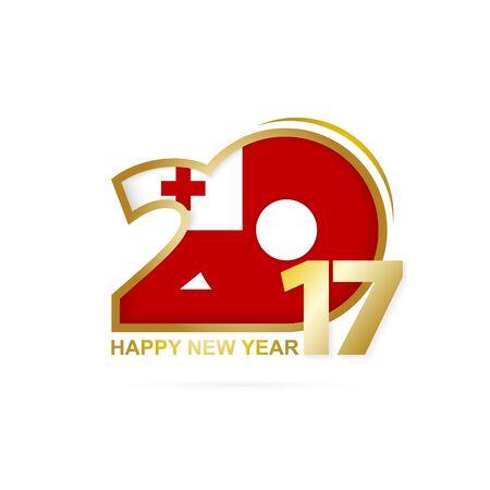 tonga: Year 2017 with Tonga Flag pattern. Happy New Year Design on white background. Vector Illustration.