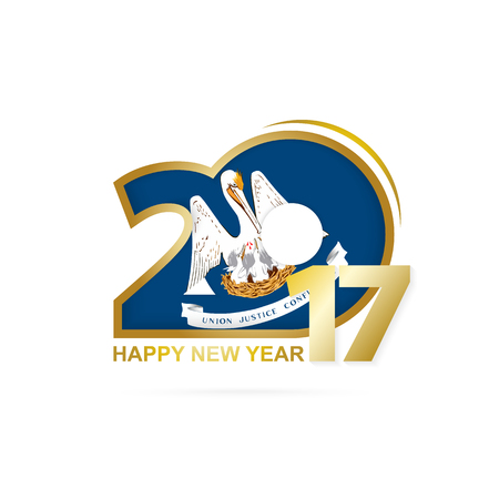 Year 2017 with Louisiana Flag pattern. Happy New Year Design on white background. Vector Illustration. Illustration