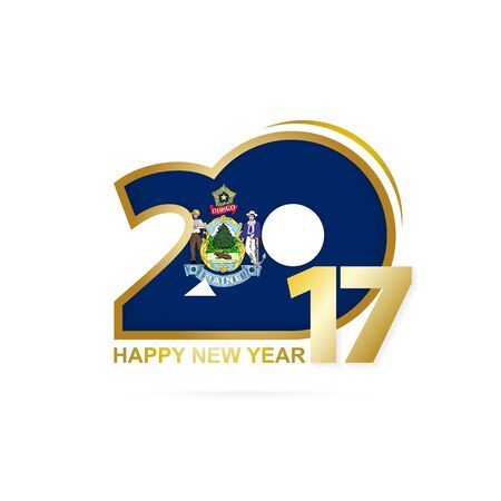 Year 2017 with Maine Flag pattern. Happy New Year Design on white background. Vector Illustration.