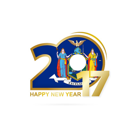 vector year 2017 with new york state flag pattern happy new year design on white background vector illustration