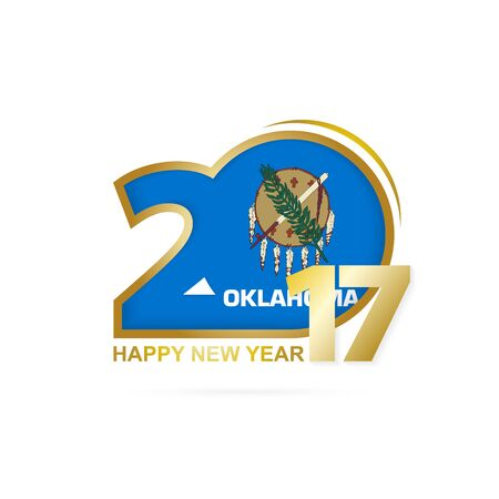 oklahoma: Year 2017 with Oklahoma state Flag pattern. Happy New Year Design on white background. Vector Illustration.