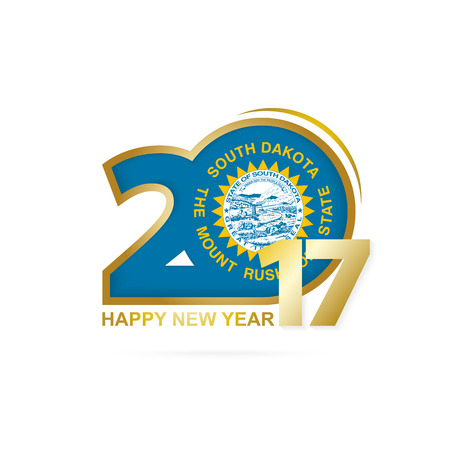 Year 2017 with South Dakota state Flag pattern. Happy New Year Design on white background. Vector Illustration.
