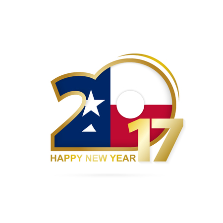 Year 2017 with Texas state Flag pattern. Happy New Year Design on white background. Vector Illustration.