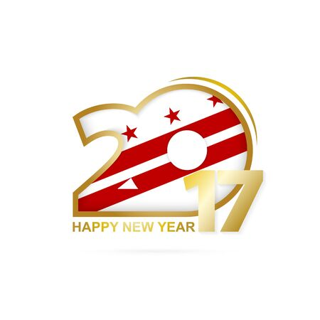Year 2017 with District of Columbia state Flag pattern. Happy New Year Design on white background. Vector Illustration.
