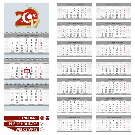 quarterly: Wall calendar planner template for 2017 year. Turkish and English language. Week starts from Monday. Ready for print. Vector Illustration.