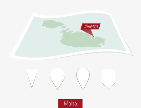 malta map: Curved paper map of Malta with capital Valletta on Gray Background. Four different Map pin set. Vector Illustration. Illustration