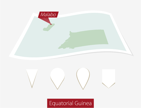 equatorial guinea: Curved paper map of Equatorial Guinea with capital Malabo on Gray Background. Four different Map pin set. Vector Illustration. Illustration