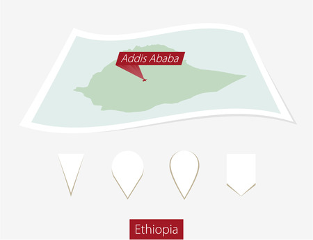 Curved paper map of Ethiopia with capital Addis Ababa on Gray Background. Four different Map pin set. Vector Illustration. Illustration