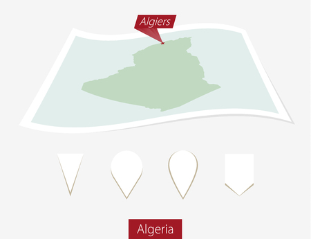 Curved paper map of Algeria with capital Algiers on Gray Background. Four different Map pin set. Vector Illustration.