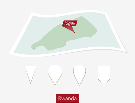 kigali: Curved paper map of Rwanda with capital Kigali on Gray Background. Four different Map pin set. Vector Illustration. Illustration
