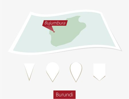 bujumbura: Curved paper map of Burundi with capital Bujumbura on Gray Background. Four different Map pin set. Vector Illustration.