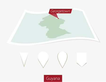 georgetown: Curved paper map of Guyana with capital Georgetown on Gray Background. Four different Map pin set. Vector Illustration.