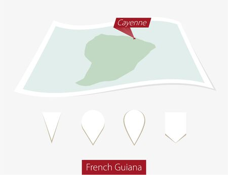 cayenne: Curved paper map of French Guiana with capital Cayenne on Gray Background. Four different Map pin set. Vector Illustration.