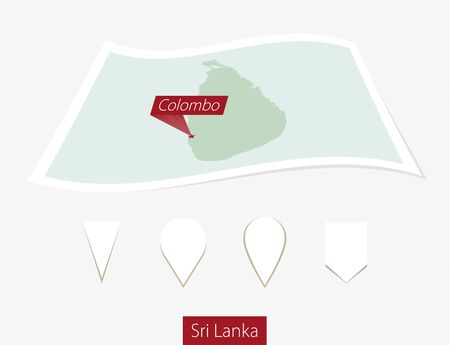 colombo: Curved paper map of Sri Lanka with capital Colombo on Gray Background. Four different Map pin set. Vector Illustration.