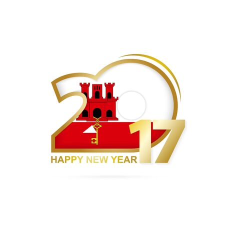 Year 2017 with Gibraltar Flag pattern. Happy New Year Design on white background. Vector Illustration.