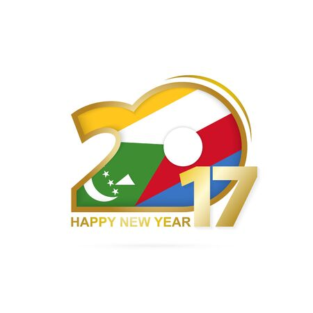 Year 2017 with Comoros Flag pattern. Happy New Year Design on white background. Vector Illustration.