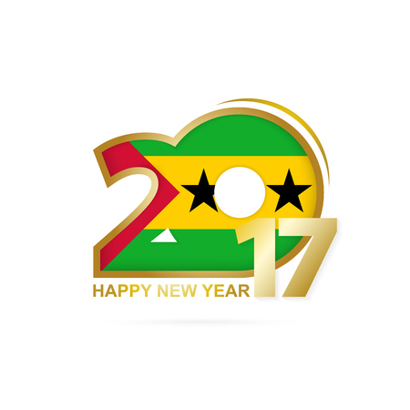 principe: Year 2017 with Sao Tome and Principe Flag pattern. Happy New Year Design on white background. Vector Illustration.