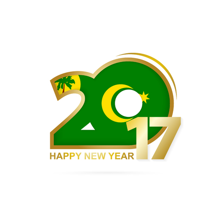 Year 2017 with Cocos Islands Flag pattern. Happy New Year Design on white background. Vector Illustration.
