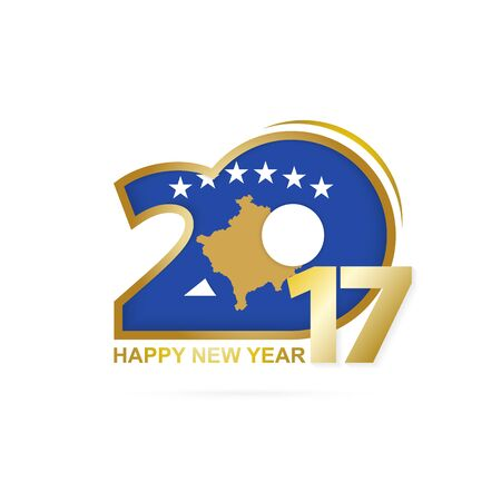 macau: Year 2017 with Kosovo Flag pattern. Happy New Year Design on white background. Vector Illustration.