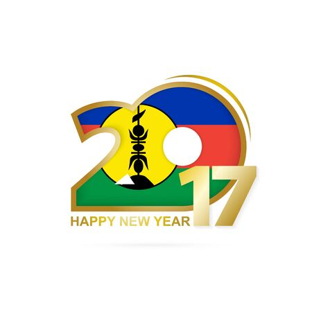 Year 2017 with New Caledonia Flag pattern. Happy New Year Design on white background. Vector Illustration.
