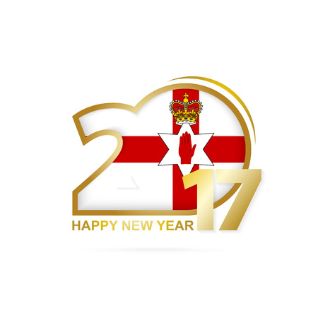 Year 2017 with Northern Ireland Flag pattern. Happy New Year Design on white background. Vector Illustration.