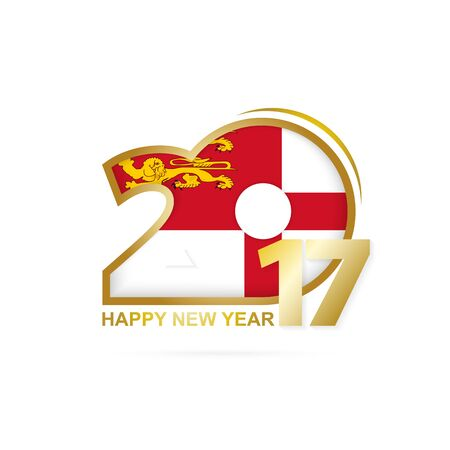 sark: Year 2017 with Sark Flag pattern. Happy New Year Design on white background. Vector Illustration. Illustration