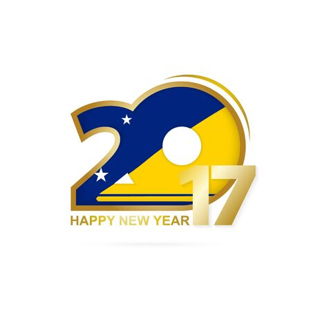 Year 2017 with Tokelau Flag pattern. Happy New Year Design on white background. Vector Illustration.
