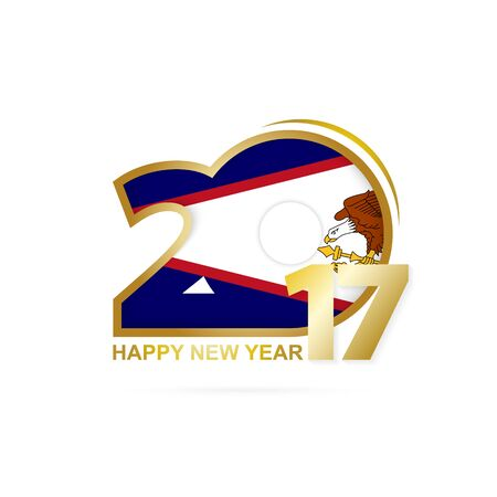 Year 2017 with American Samoa Flag pattern. Happy New Year Design on white background. Vector Illustration.
