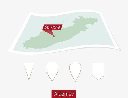 資本金灰色背景に聖アン オルダニーの紙の地図を湾曲しました。4 つの異なるマップ ピン セット。ベクトルの図。