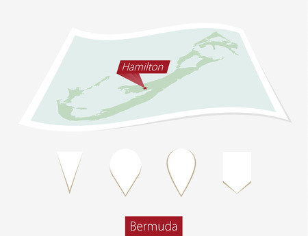 hamilton: Curved paper map of Bermuda with capital Hamilton on Gray Background. Four different Map pin set. Vector Illustration. Illustration