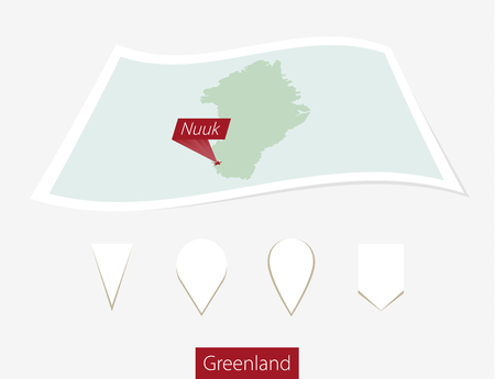 nuuk: Curved paper map of Greenland with capital Nuuk on Gray Background. Four different Map pin set. Vector Illustration.