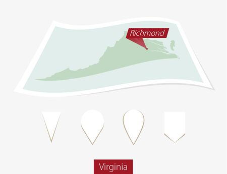 Curved paper map of Virginia state with capital Richmond on Gray Background. Four different Map pin set. Vector Illustration. Illustration